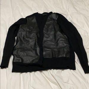 J Crew Jcrew Leather Merino Cardigan Sweater S